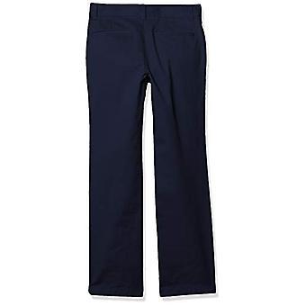Essentials Boy's Straight Leg Flat Front Uniform Chino Broek, Navy Blue, 12(S)