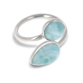 ADEN 925 Sterling Silver Larimar Ring (id 4077)