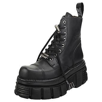 New Rock Combat Boots Unisex Platform Boots in Black