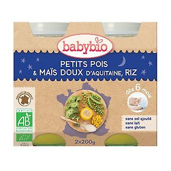 Petits Pots Bonne Nuit Petits Pois-Maïs-Riz Bio (6 kuukautta) 2 yksikköä 200ml