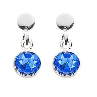 Ah! Sieraden Sapphire Kristallen van Swarovski Bungelen Birthstone Oorbellen. Sterling Zilver, Gestempeld 925