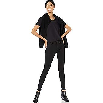 Merkki - Goodthreads Women's Washed Jersey Puuvilla Rullahihainen V-kaula-paita, Musta, Keskikokoinen