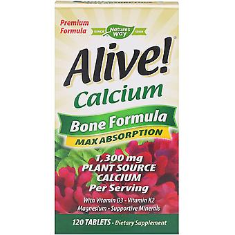 Nature-apos;s Way, Alive!, Calcium, Bone Formula, 1300 mg, 120 Comprimés