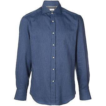 Brunello Cucinelli Ml6910028c5056 Heren's Blauw Katoenen Shirt
