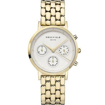 Rosefield Watch NWG-N90 - Bo tier m tal dor shiny white dial chronograph gold steel bracelet women
