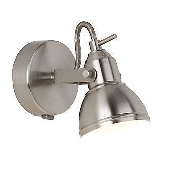 Søgelys fokus - 1 lys indendørs justerbar væg spotlight Satin Silver, GU10