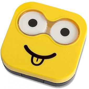 Kontaktlinsenhalter Emoji 6,5 x 6,7 cm Kunststoffgelb