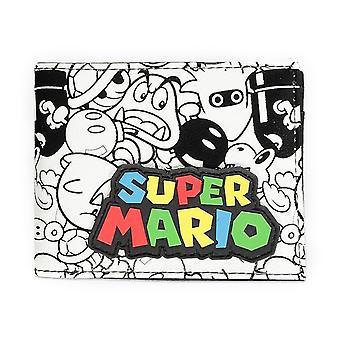 Super Mario Bros. Logo med All-over Skurk Tegn Skrive Ut Bi-fold Lommebok
