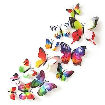 12pcs color mezclado doble capa mariposa 3d pared pegatina