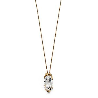 Elements Silver Womens Clear Crystal par Swarovski® Gold Plaqué Sterling Silver Granulation Pendant on Chain Length 41cm