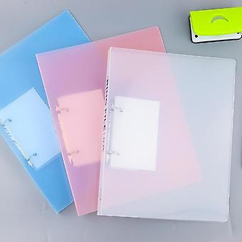 A4 2-holes Pp Clip File Folder Matte Loose Leaf Binder, Notebook Cover, Diary