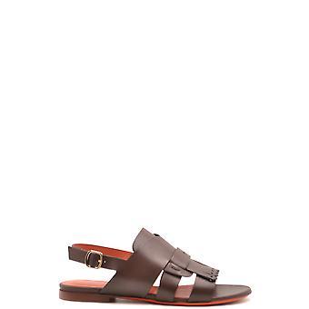 Santoni Ezbc023026 Women's Brown Leather Sandals