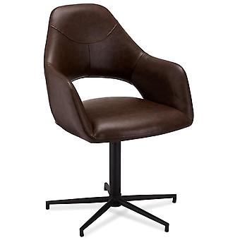 Ibbe Design Luna Dining Chair Dark Brown Faux Leather - Set of 2, 59x64x89 cm