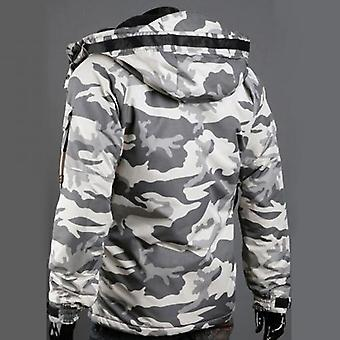 Autumn And Winter Warm Men's Camouflage Printed Jacket, Zipper Long Sleeve,