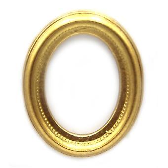 dukker huset liten oval tom gull bilde maleri ramme miniatyr tilbehør
