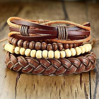 Bracelets en cuir d'enveloppe tressé