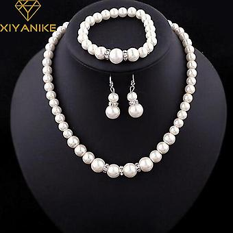 Fashion Classic Imitation Pearl Elegant Party Costume Pearl Jewelry Set
