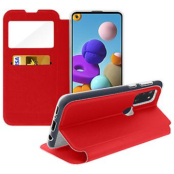 Case for Samsung Galaxy A21s with Window and Card Holder - red