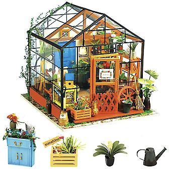 Rolife diy dollhouse de madeira miniatura móveis kit mini casa verde com levou melhores presentes de aniversário fo