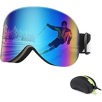 BFULL Ski Goggles Magnetic Interchangeable Dual Lens for Men Women and Youth, OTG Snow Goggles