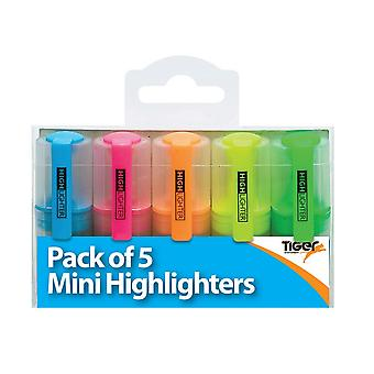 Tiger Stationery Mini Highlighter (Pack of 5)