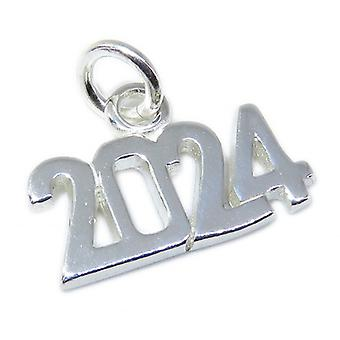 2024 Year Sterling Silver Charm .925 X 1 Graduation Anniversary Years - 8637