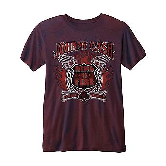 Johnny Cash T Shirt Distressed Ring of Fire Logo Official 2tone Burnout