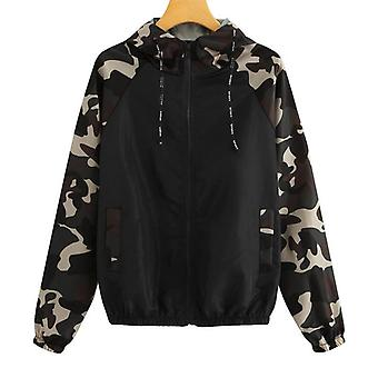 Camo Print Women/men Running Jacket Outdoor Camping Hiking Long Sleeve Jacket