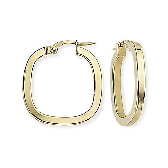 Jewelco London Ladies 9ct Yellow Gold 2mm Gauge Square Tube TV Shape Hoop Boucles d'oreilles - 21mm