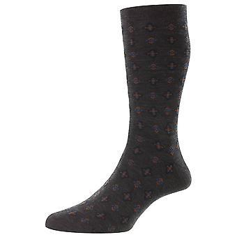 Pantherella Hanley Tile Motif Merino Wool Socks - Cinza carvão