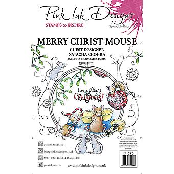 Pink Ink Designs Merry Christ Mouse A5 Clear Stamp Set