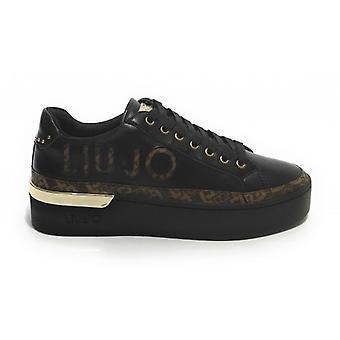 Shoes Woman Liu-jo Sneaker Silvia In Ecopelle Nero/ Brown D21lj05