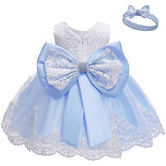 Baby Meisjes Bowknot Tutu Party Jurken met Hoofddeksels Lichtblauw