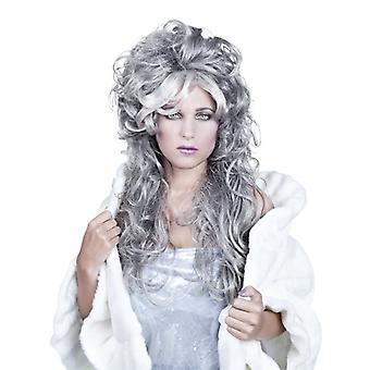 Lange golvende grijze vrouwenpruik