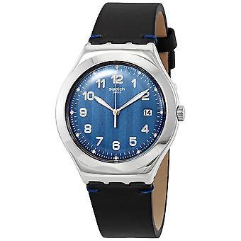 Swatch Cotes Blau Blau Zifferblatt schwarz Leder Herrenuhr YWS438