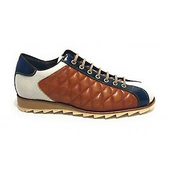 Herrskor Harris Sneaker Quilted Leather Ocra/ White Python Print/ Shade Blue U17ha105