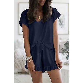 Women Blue Super Soft T-shirt Ruffle Shorts Pyjamas Set