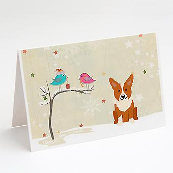 Joululahjat ystävien välillä Corgi Onnittelukortit ja kirjekuoret Pakkaus 8