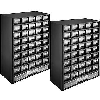 tectake 2x Sortimentskasser til småopbevaring - sort/hvid