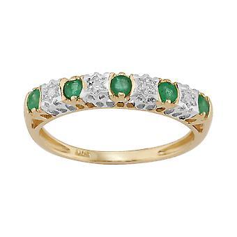 Esmeralda Natural de 9ct ct 0,27 oro amarillo y diamante 2pt media eternidad banda anillo