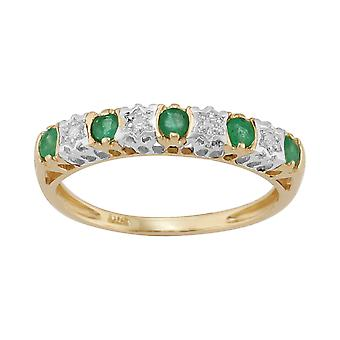 9ct Yellow Gold 0.27ct Natural Emerald & 2pt Diamond Half Eternity Band Ring