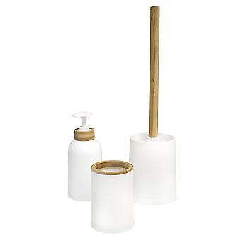 toilet set Zen bamboo/PP white/naturel 3-piece