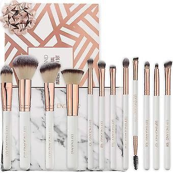 Gerui 12 Piece Makeup Brush Set with Case. Rose Gold and Marble Professional Makeup Brushes for Face