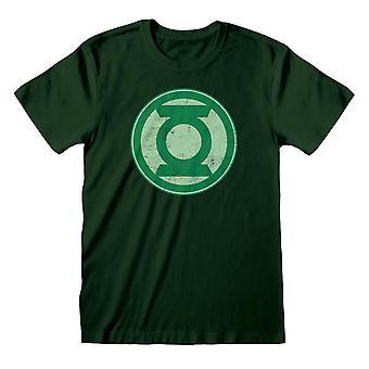 Justice League Womens/Ladies Green Lantern Distressed Logo Boyfriend T-Shirt