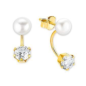kjærlighet øredobber for kvinner øreklokke med dyrkede perler og gull zirkoner 375