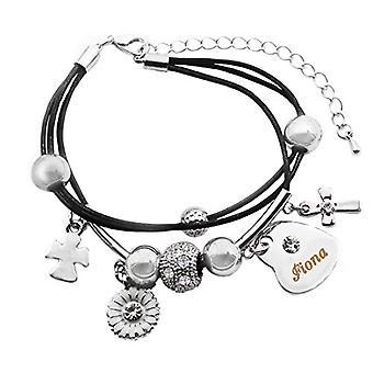 Kigu Fiona - Äkta läder multiwire armband och hjärtformat hänge pläterat i vitt guld 18 K