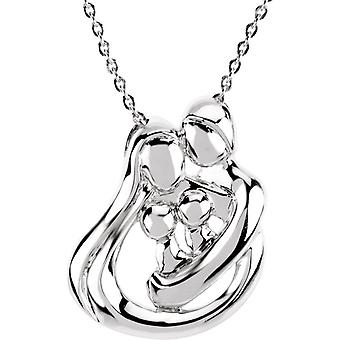 925 Sterling Silver 2 Child Family 18 Inch Necklace - 10.1 Grams