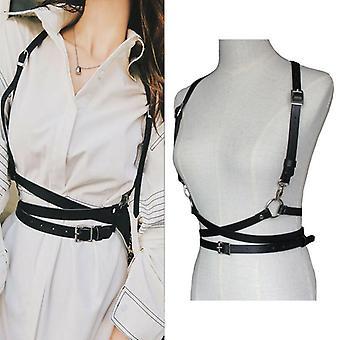 Femei Decorative Shirt Dress Pu piele smooth cataramă Vesta