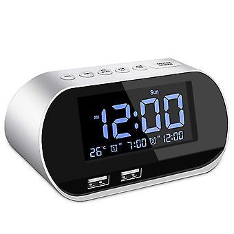 Rádio despertador, fm com temporizador de sono, carregamento dual de porta USB, digital