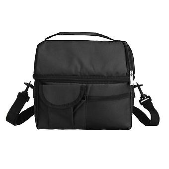 Portable Waterproof Oxford Cloth Insulated Lunch Bags Picnic Thermal Cooler Shoulder Food Box(Black)